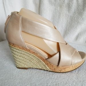 Cole Haan Shoes - Cole Haan metallic tan cork wedge espadrilles